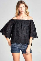 Off Shoulder Bell Sleeve Lace Top In Black