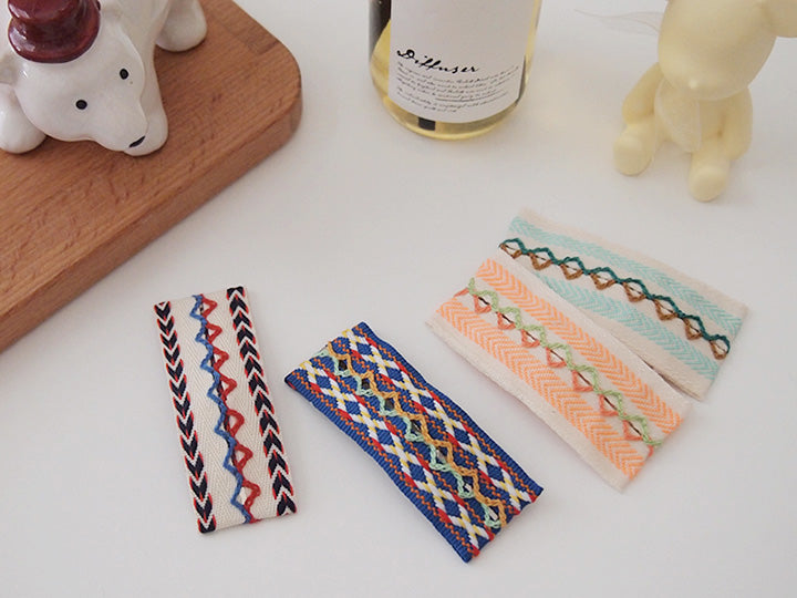 Ethnic style Stitch Hair clip