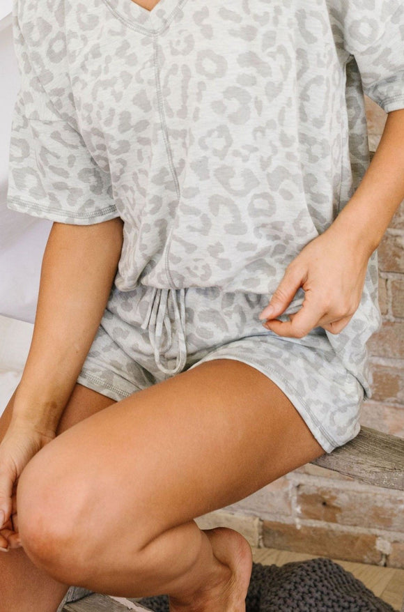 Gray Tone Animal Print Lounge Shorts