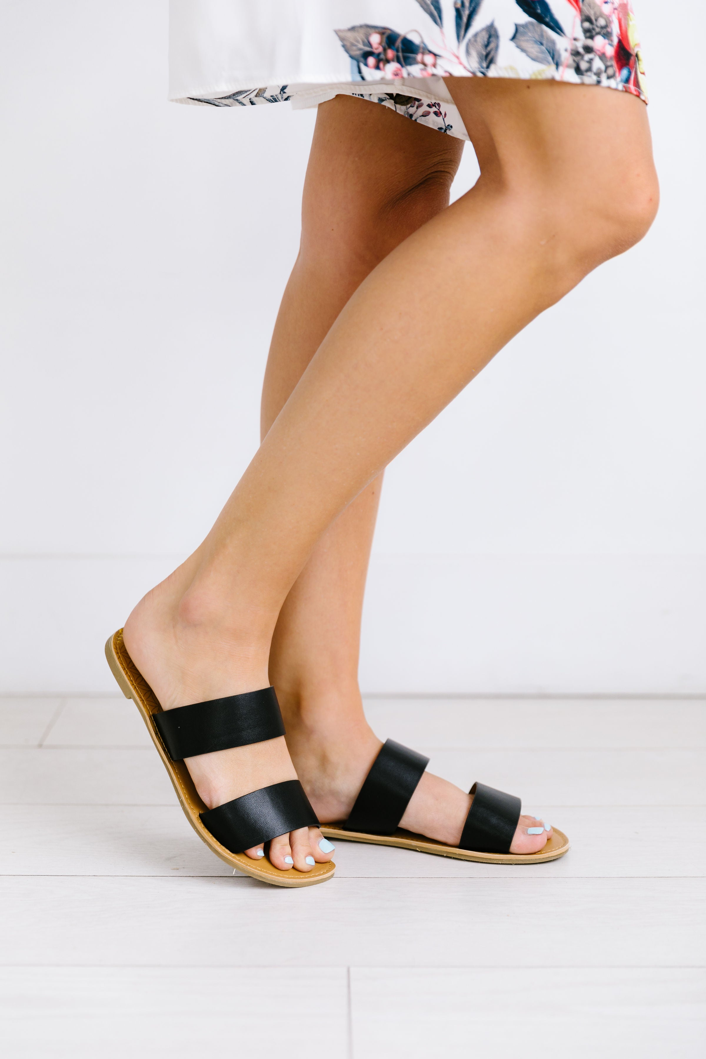 Double Time Black Sandals - ALL SALES FINAL