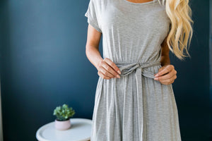 Effortless Knit Tie-Front Dress - ALL SALES FINAL