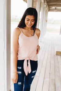 Chevron Stripes Tie Front Tank In Blush