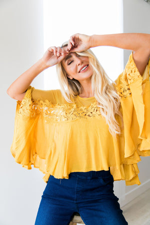 Sweet As Honey Mesh + Lace Blouse - ALL SALES FINAL