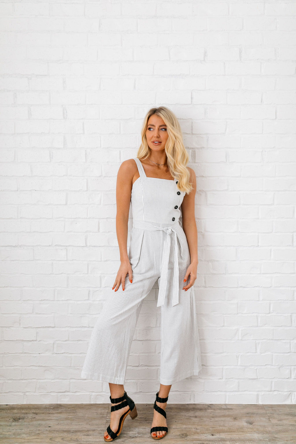 Alexis Striped Linen Jumpsuit