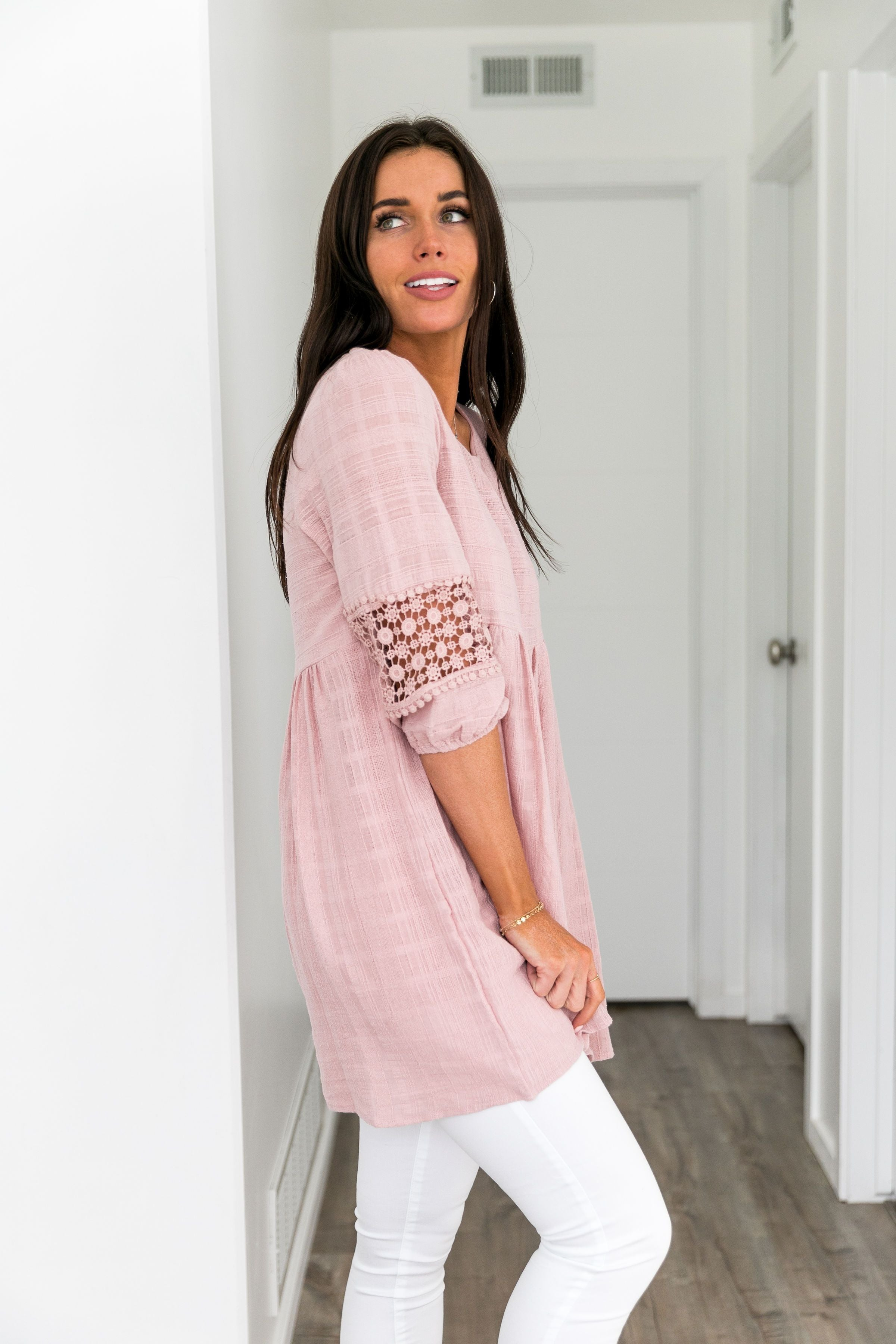 Bailey Babydoll Lace Trimmed Tunic