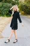 Battenburg Lace Shift Dress In Black