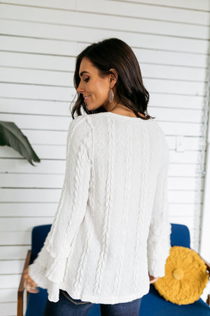 Bells And Whistles Cable Knit Sweater In Ivory