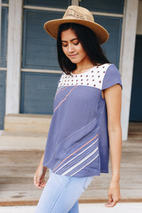 Betsy Mixed Fabric Top