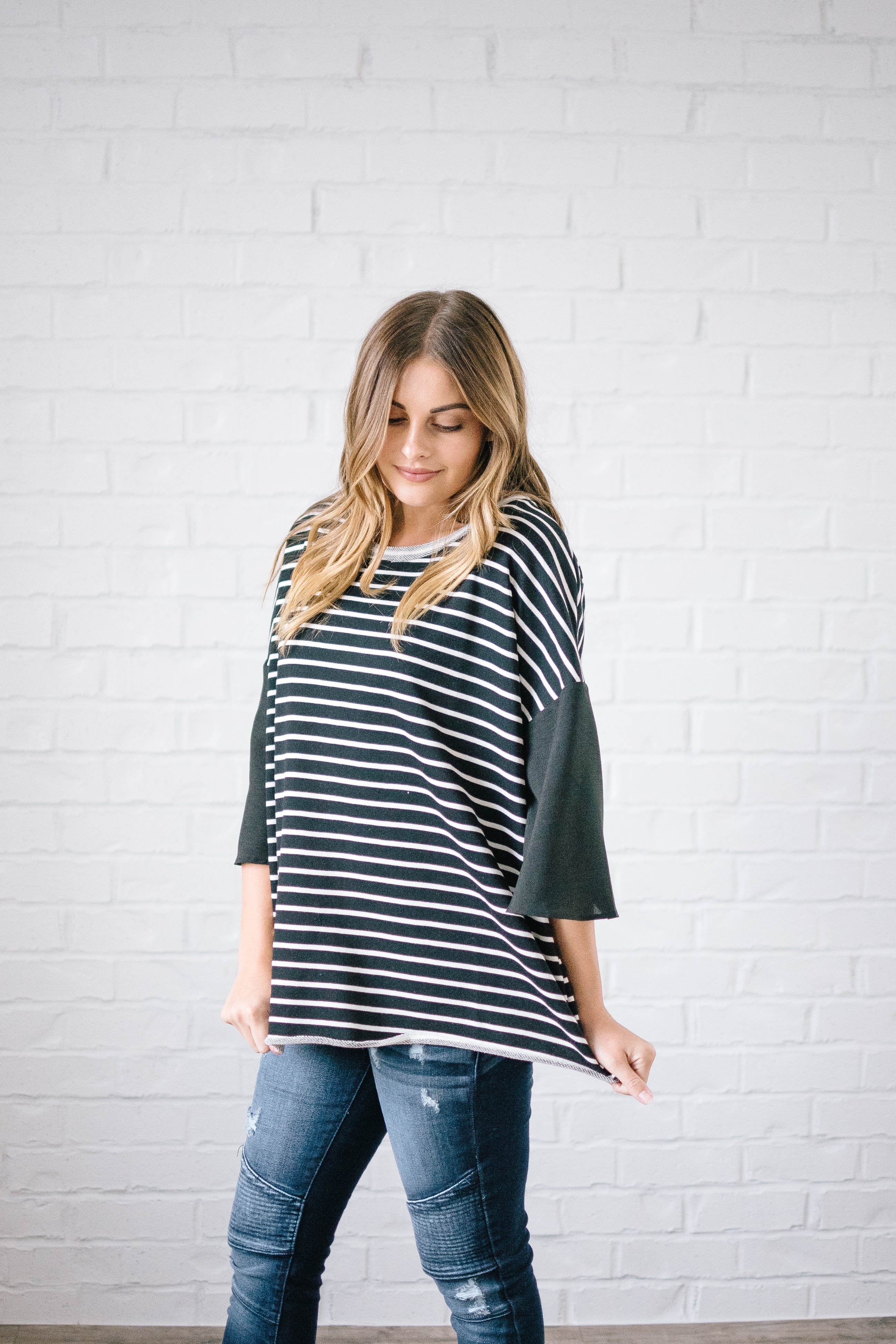 Blakely Bell Striped Top in Black