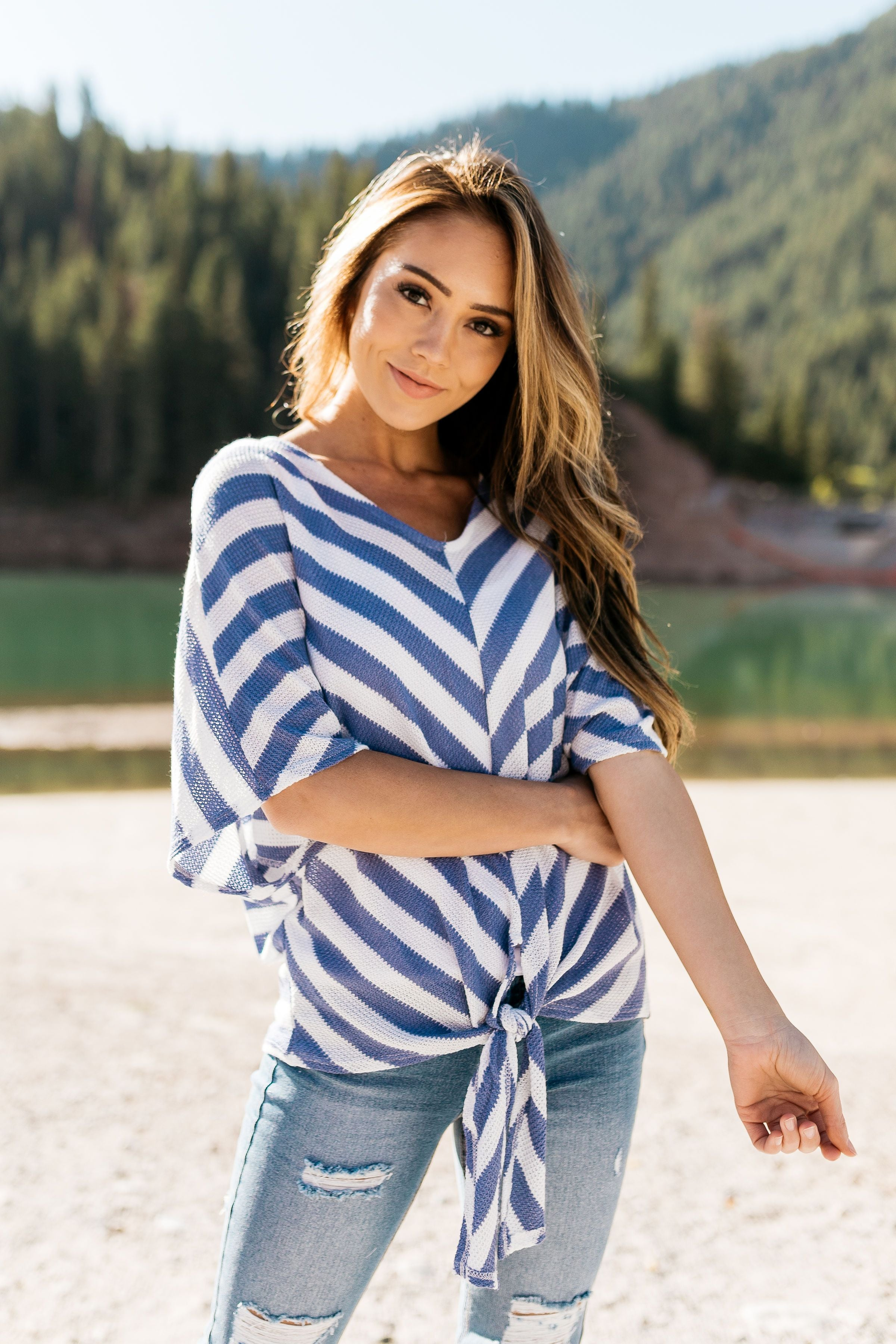 Blue + White Stripe Woven Top - ALL SALES FINAL