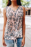 Blushing Leopard Tie-Front Tank