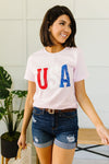 Born In The USA Graphic Tee In Pink