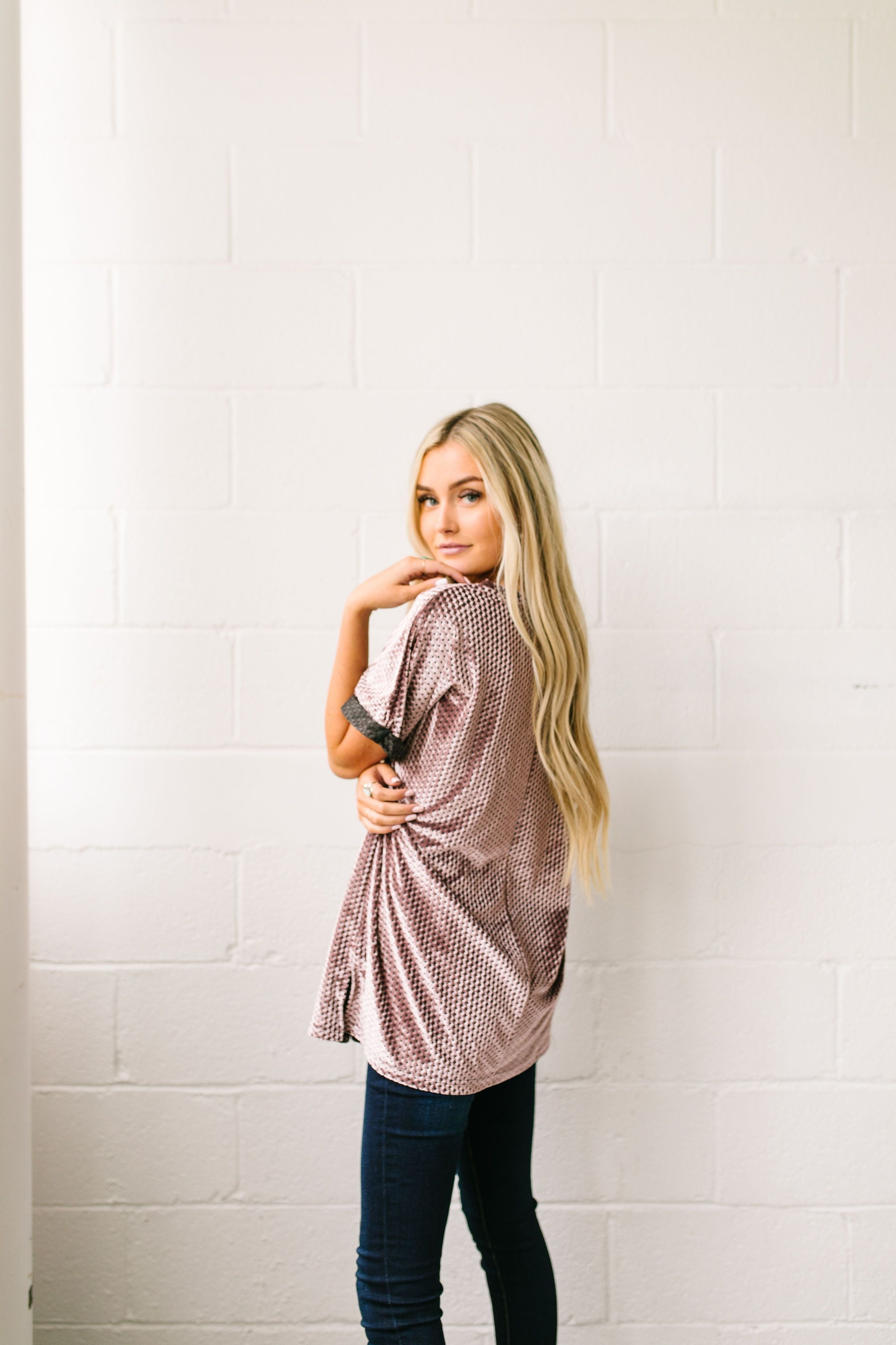 Burnout Beauty Embossed Velvet Top In Mauve - ALL SALES FINAL