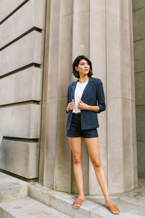 Business Casual Pinstriped Blazer