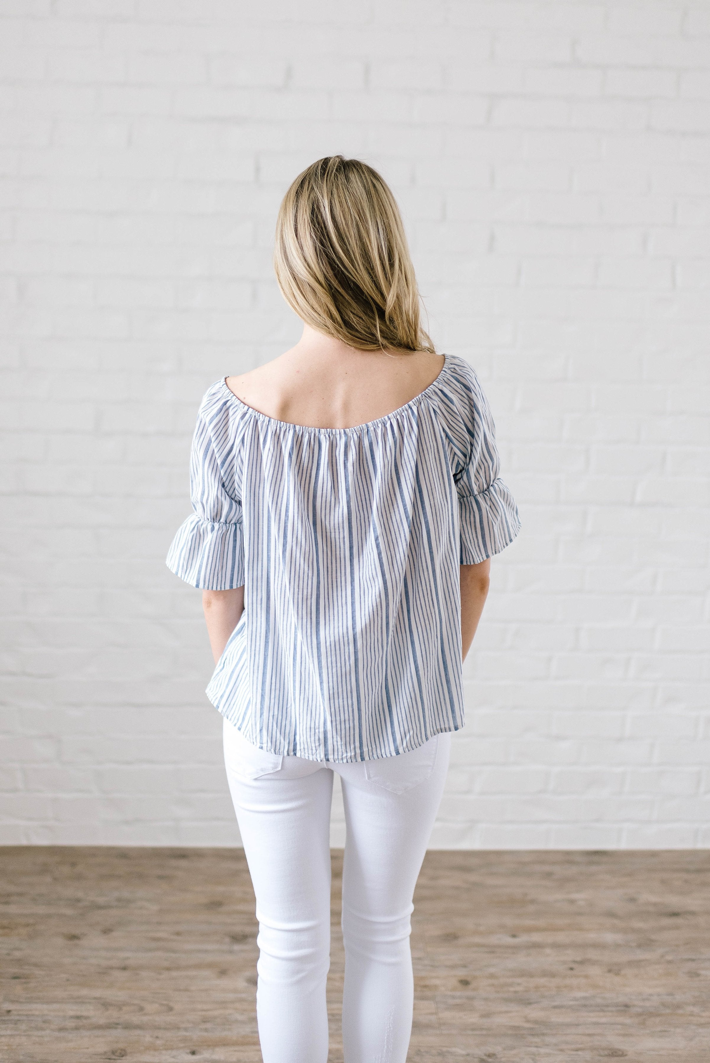 Candy Stripe Off the Shoulder in Blue