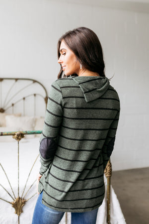 Carolina In My Mind Striped Top In Olive