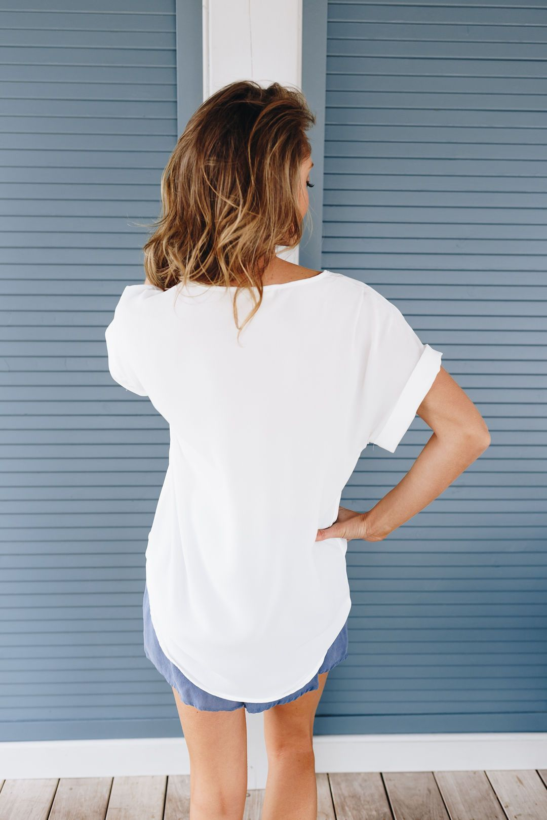 Chelsea Rolled Sleeve Top In Ivory