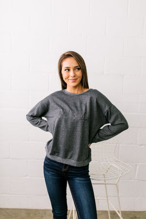 Classic Graphic Sweatshirt In Charcoal - ALL SALES FINAL