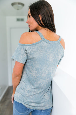 Sadie Cold Shoulder Top In Sage - ALL SALES FINAL