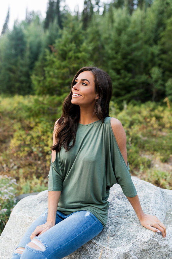 Cold Shoulders Warm Heart Top in Olive - ALL SALES FINAL