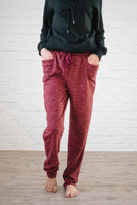 Cozy Joggers with Side Pockets in Ruby