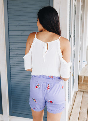 Delicately Ruffled Off-The-Shoulder Top