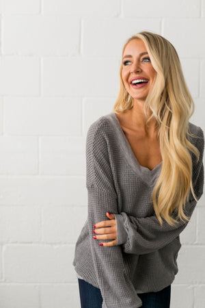 Double V Waffle Knit Top In Gray - ALL SALES FINAL