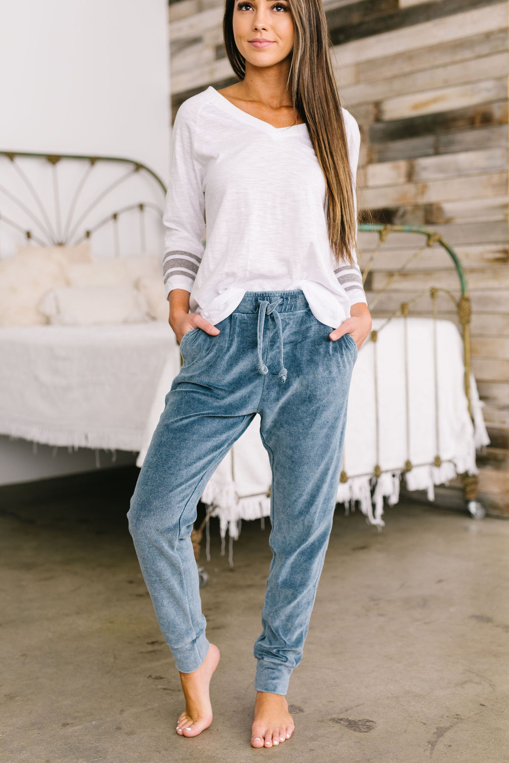 Easy Like Sunday Morning Velour Joggers in Blue
