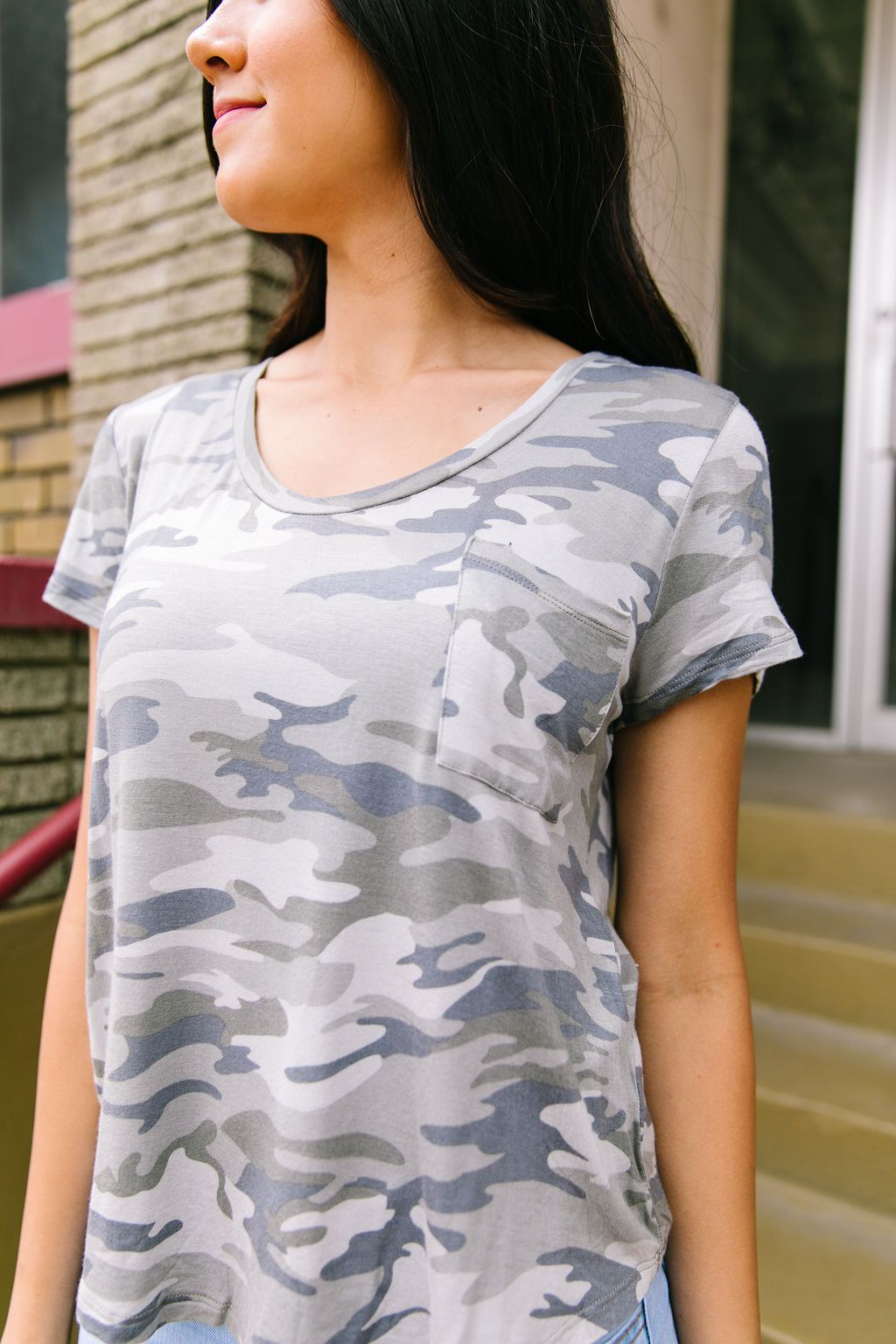 Faded Camo Scoop Neck Tee