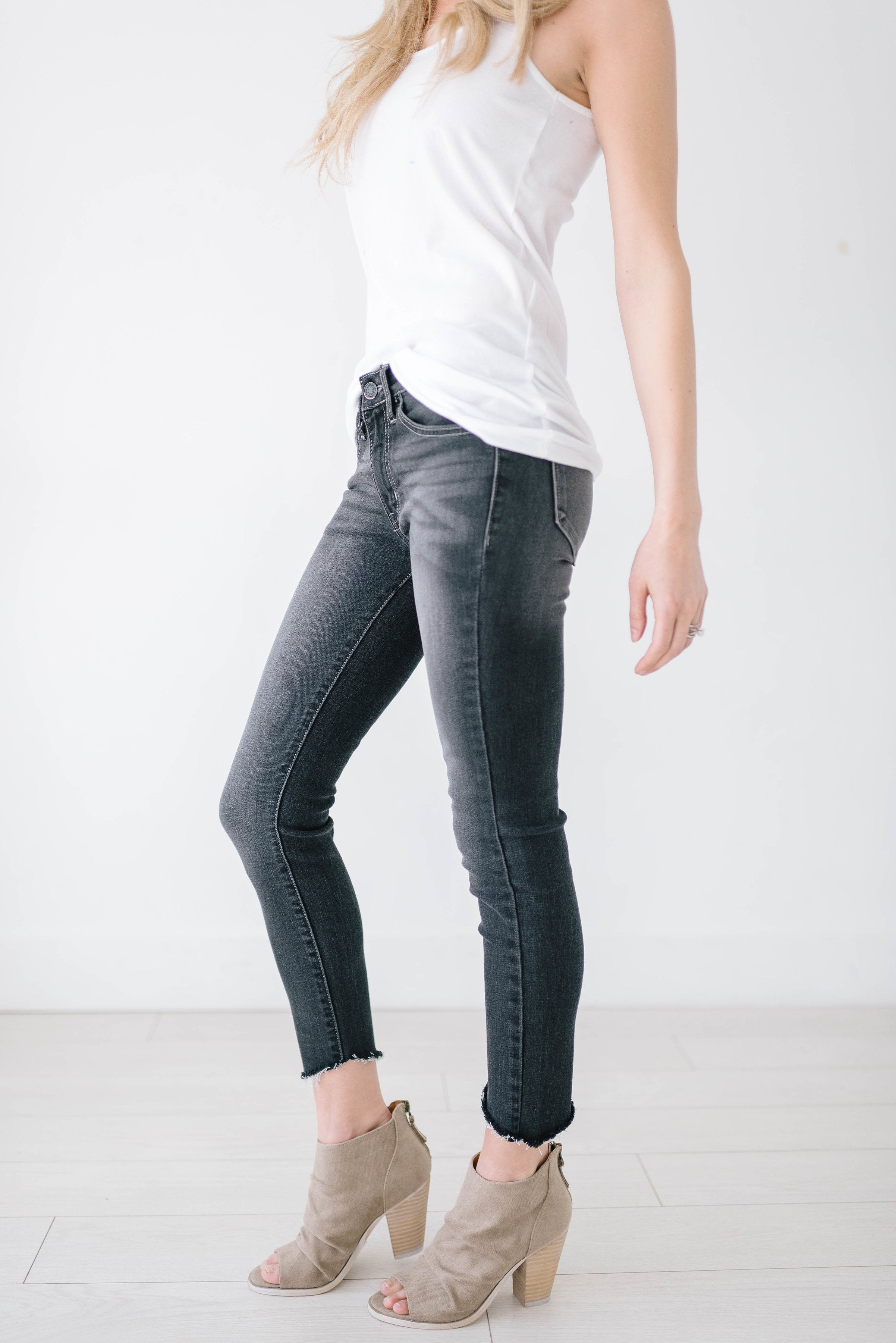 Gray Slanted Skinnies