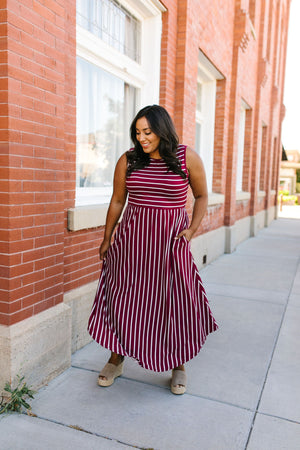 Have It Both Ways Striped Dress In Wine