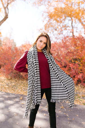 High Honors Houndstooth Scarf In Black & White - ALL SALES FINAL
