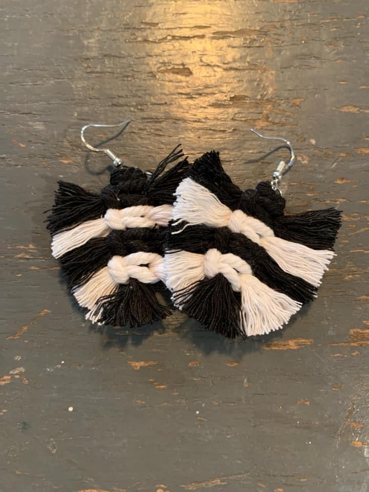 Black + White Feather Macrame