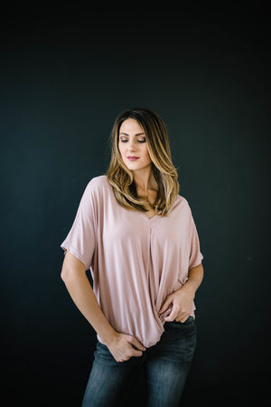 Knot Me V-Neck Tee in Rose