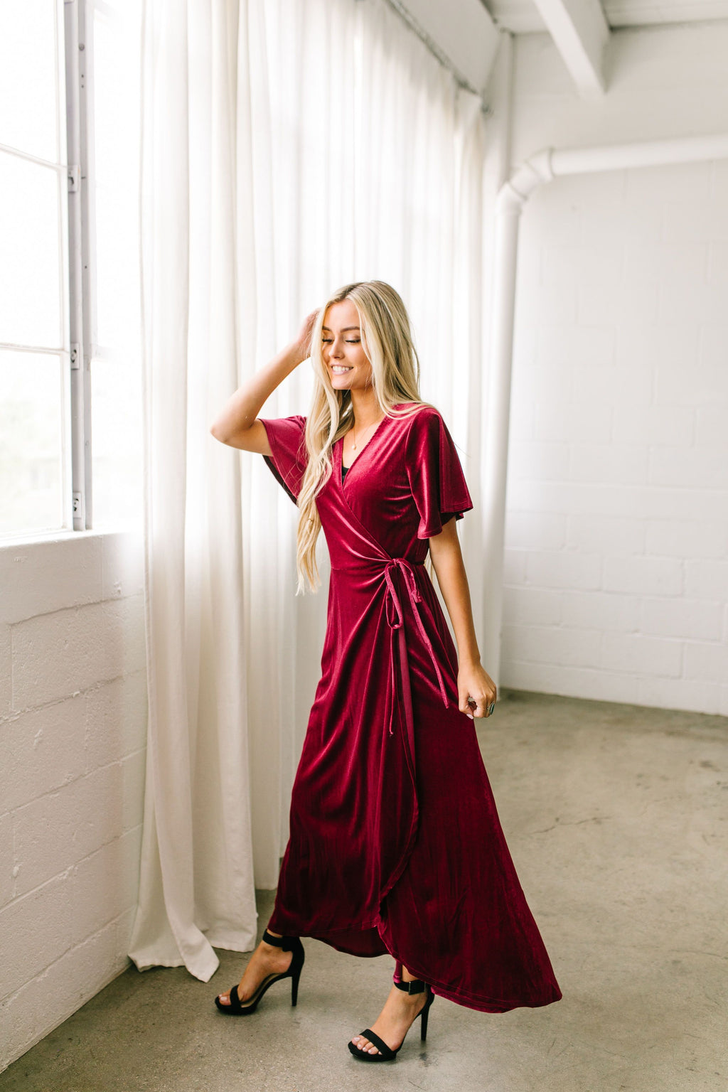 Lady In Red Velvet Wrap Dress - ALL SALES FINAL