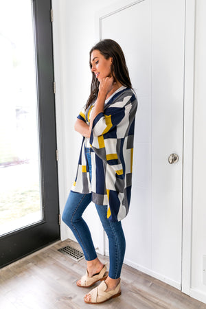 Lightweight Modern Art Color Block Cardigan - ALL SALES FINAL