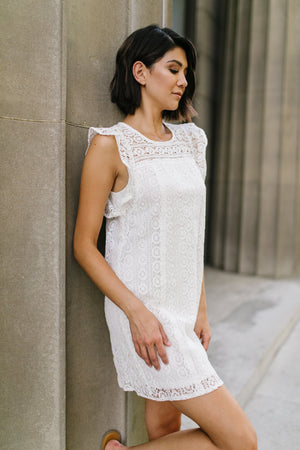 Lovely Lace Overlay Dress In Ivory