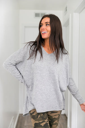 Make It A Grande Gray Sweater - ALL SALES FINAL