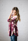 Monroe Floral Swing Blouse in Burgundy