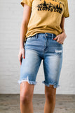 Notched Fringe Bermuda Shorts