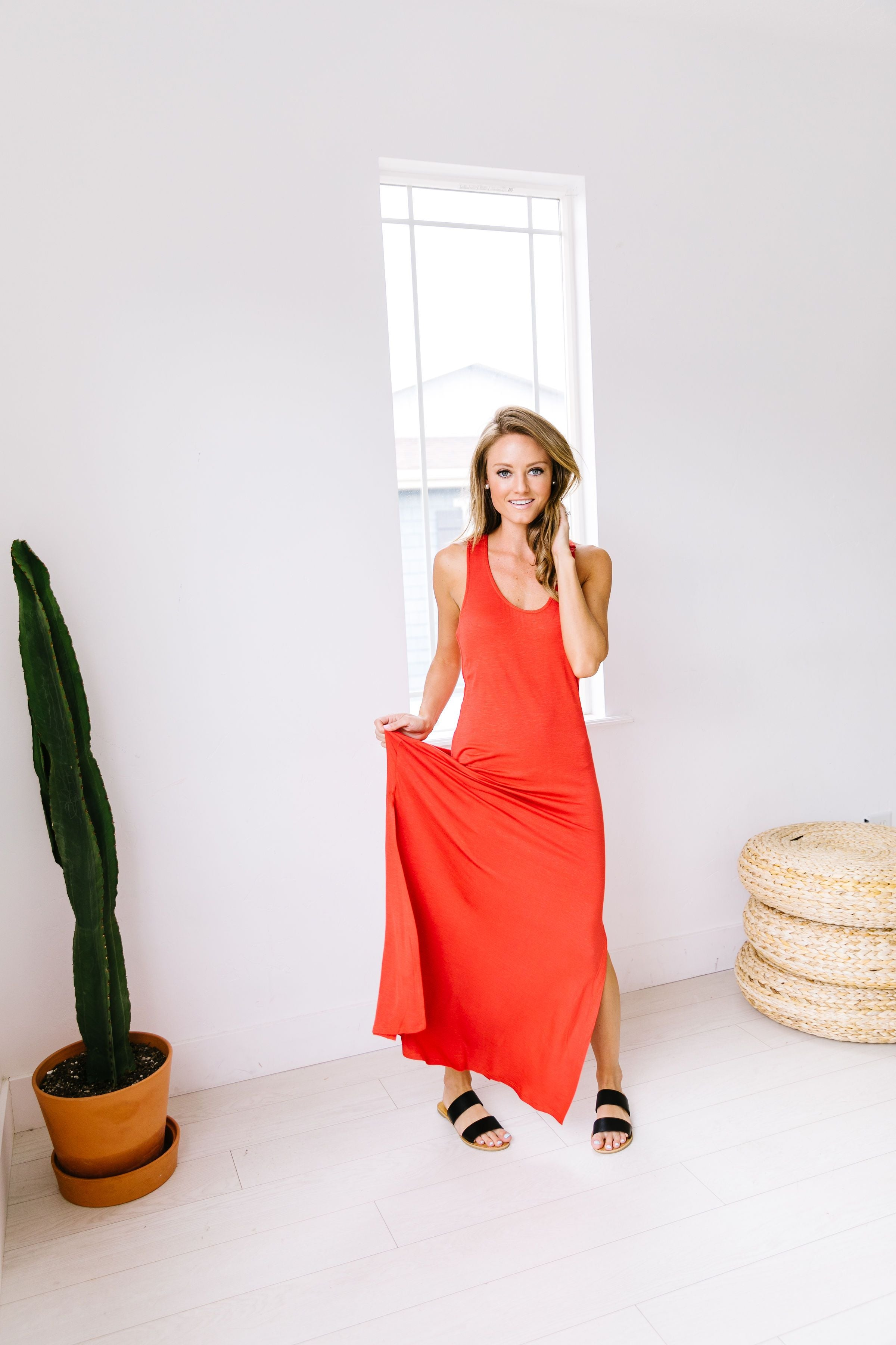On Fire Twisted Back Maxi Dress