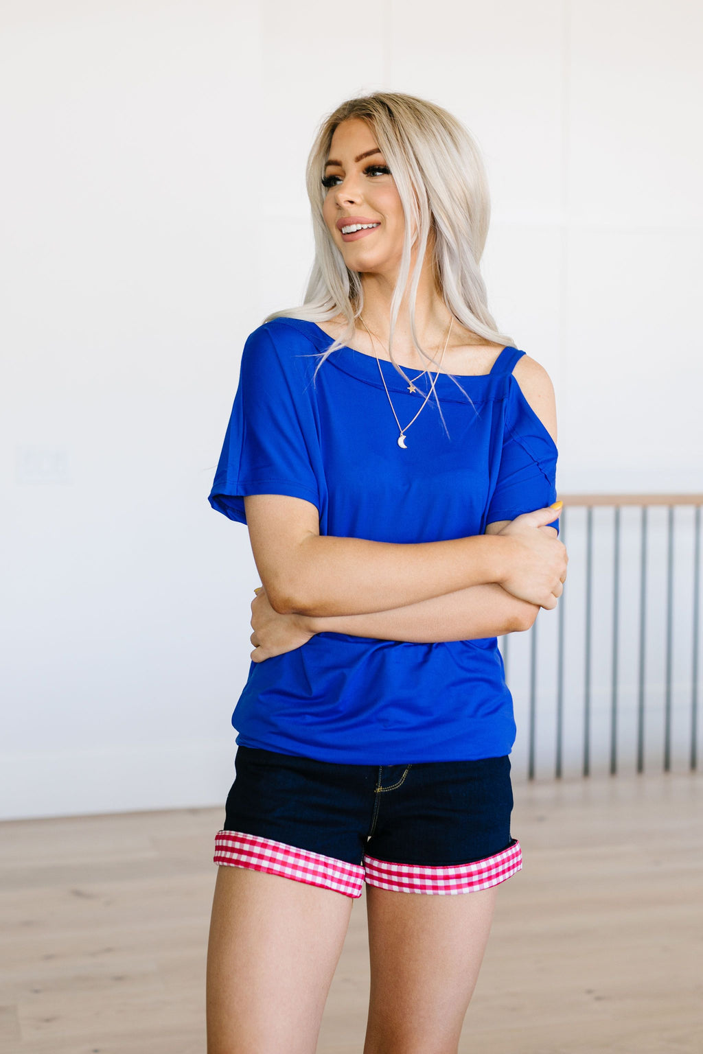 One Shoulder Bare Tunic In Blue
