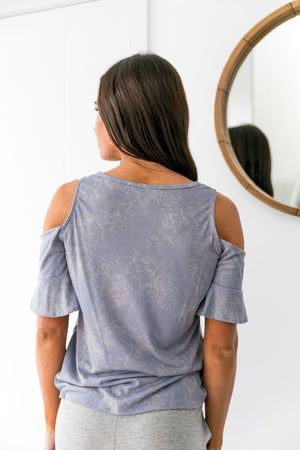 Partly Cloudy Cold Shoulder Top In Blue - ALL SALES FINAL