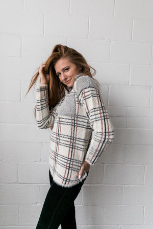 Copper And Plaid Fuzzy Pullover