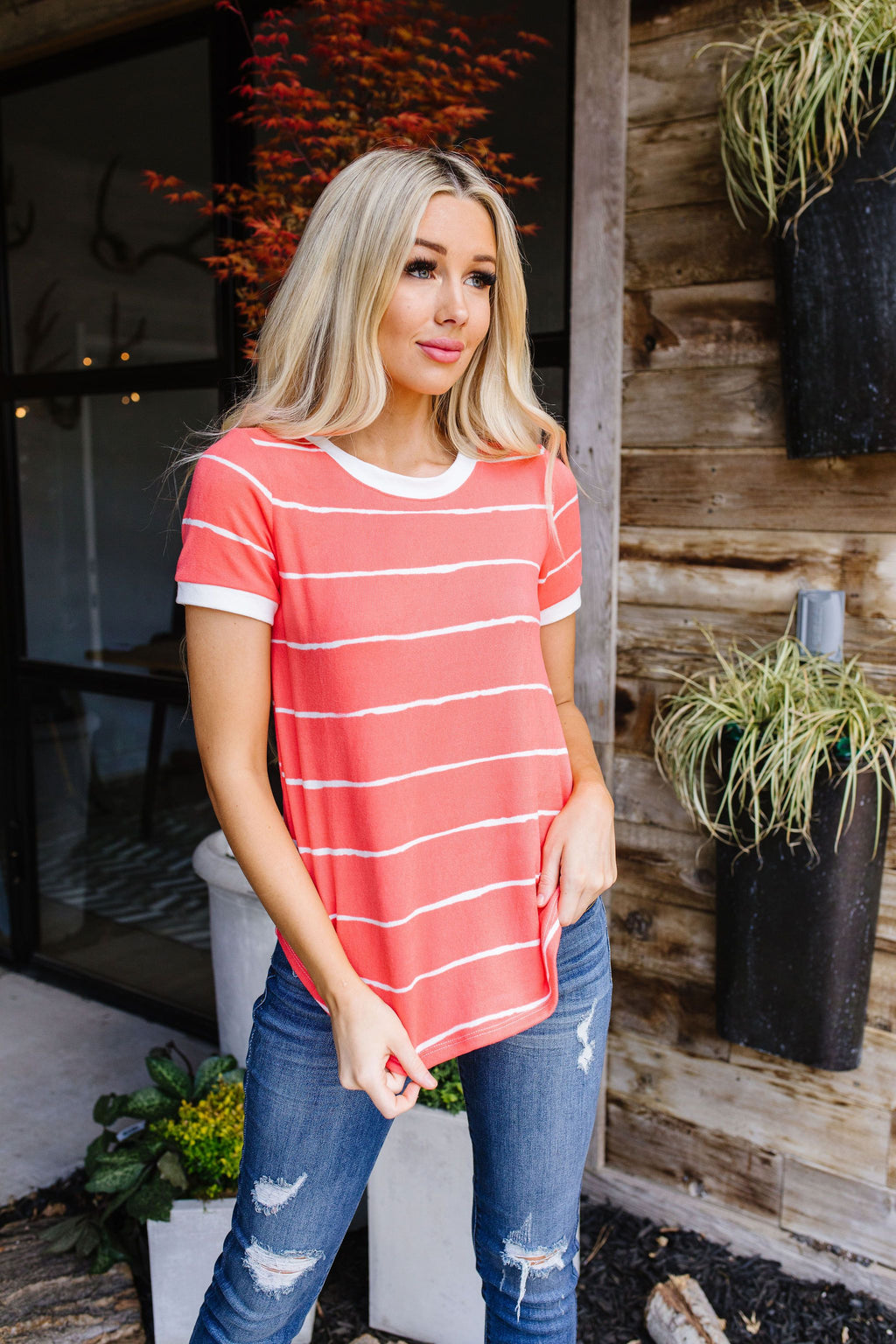 Play Day Coral Striped Top