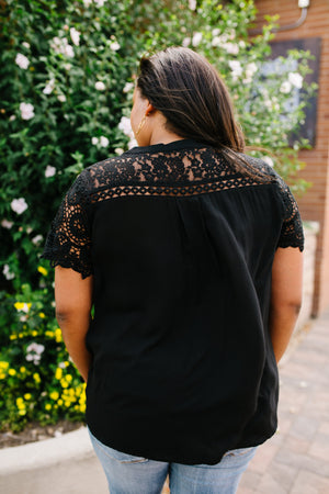 Pleats + Lace Blouse In Black