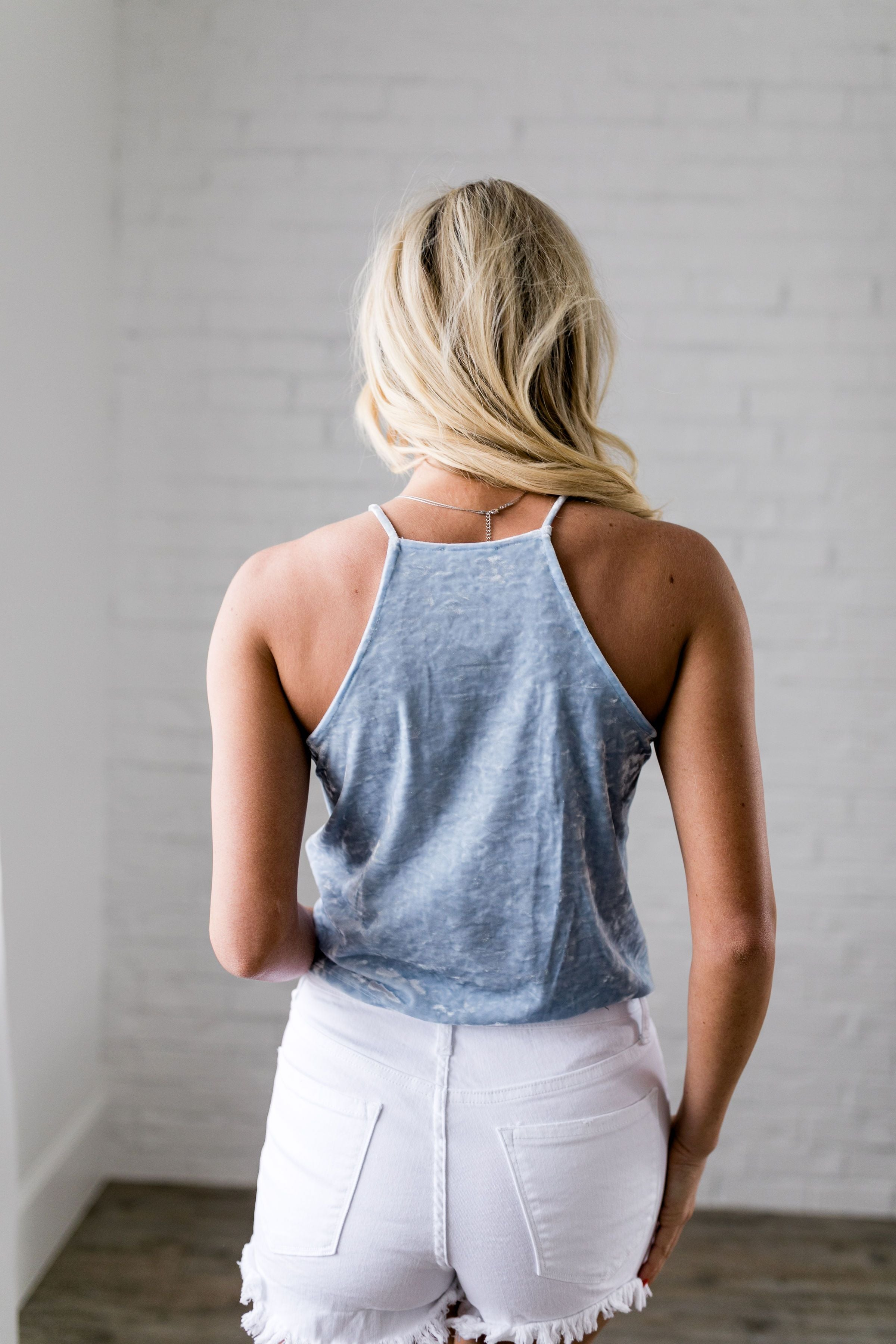Powder Blue Crushed Velvet Halter Top