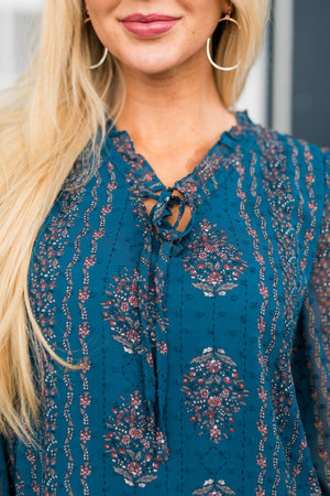 Pretty As A Peacock Chiffon Blouse - ALL SALES FINAL