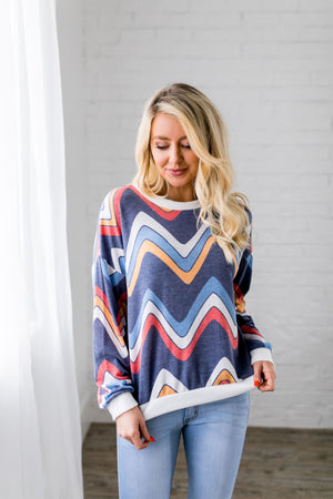 Retro Chevron Long Sleeve Top