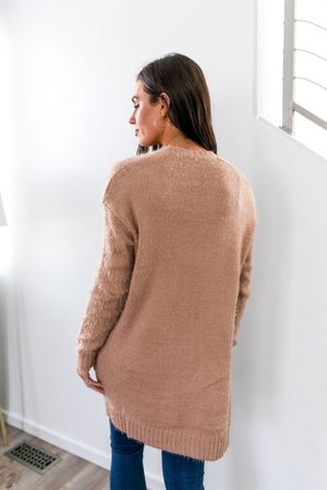 Ribbed Fuzzy Cardigan In Taupe